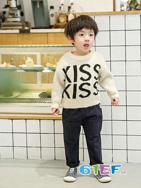 韩E童社童装品牌2018秋冬男女童套头针织衣