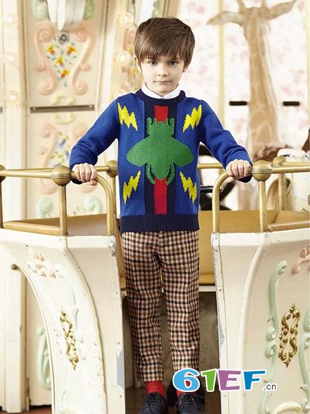 Gucci童装品牌2018秋冬潮流休闲针织衫修身帅气个性外套