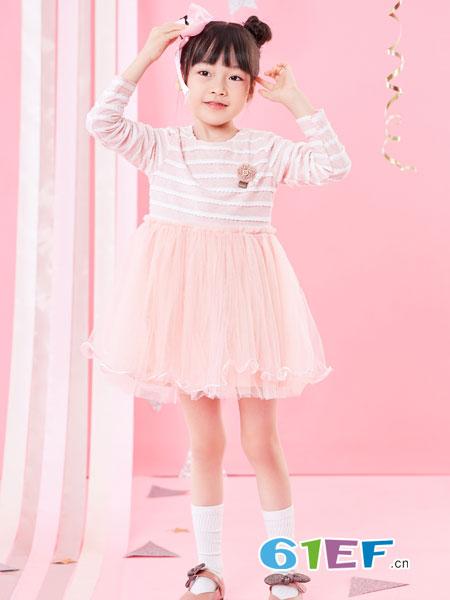 小红豆龙8国际娱乐官网龙8国际娱乐官网品牌2018秋冬中大童儿童时尚条纹连衣裙