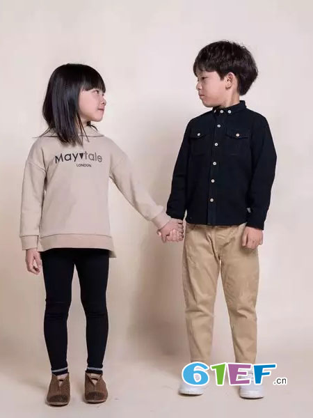Mayotale童装品牌2018秋冬空气棉方格撞色扣衬衫
