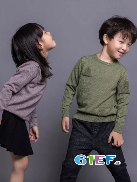 Mayotale童装品牌2018秋冬新款男童圆领长袖纯棉毛衣中大儿童套头针织衫