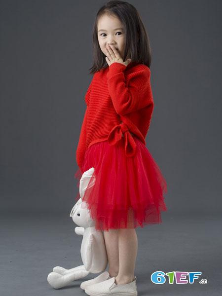 BETOBE童装品牌2018秋冬 红色针织衫蓬蓬裙