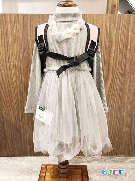 玖�闯蓖�童装品牌2018秋冬长袖纱网裙
