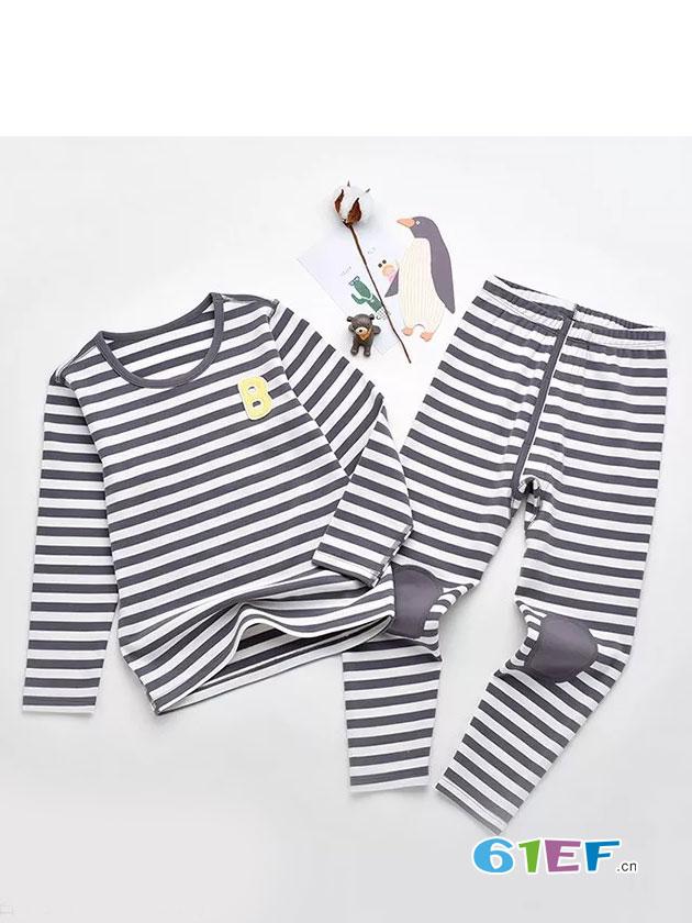 粒粒仔童装品牌2018秋冬条纹睡衣