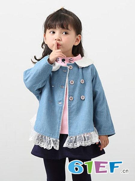 衣丫仔仔童装品牌娃娃领蕾丝花边牛仔衣