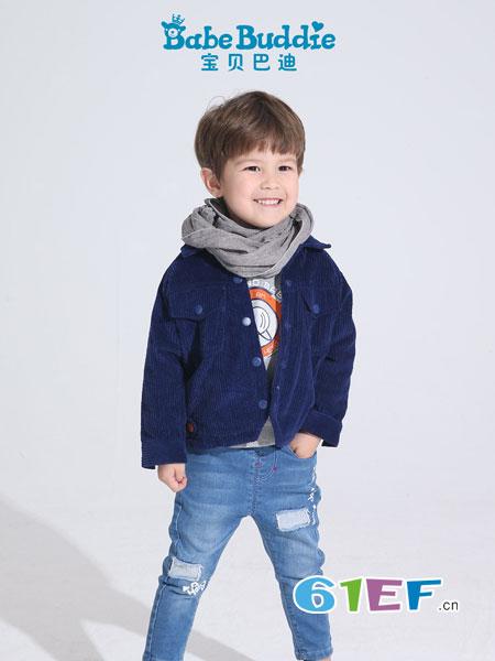Babe Buddie宝贝巴迪童装品牌2018秋冬复古做旧立领牛仔夹克