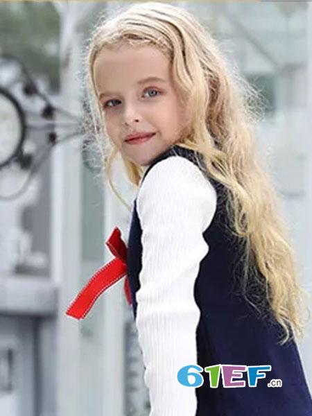杰米兰帝童装品牌2018秋冬韩版针织背心裙两件套