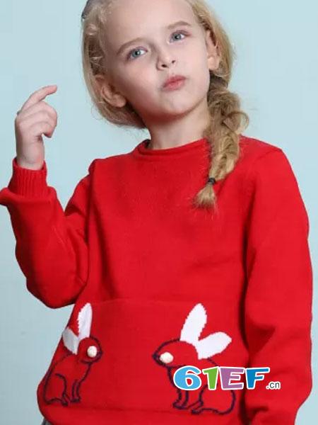 杰米兰帝童装品牌2018秋冬小兔子针织衫加绒保暖圆领修身款
