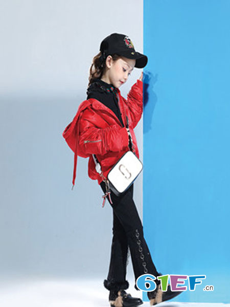 Lily-BaLou莉莉日记童装品牌红色修身短款羽绒服