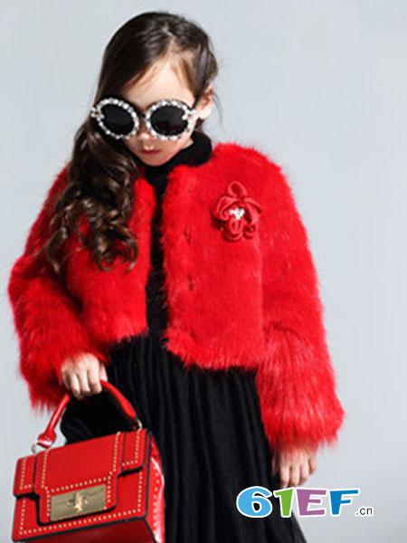 Lily-BaLou莉莉日记童装品牌红色绒面短款外套