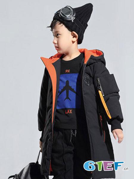 Lily-BaLou莉莉日记童装品牌黑色长款羽绒服男童