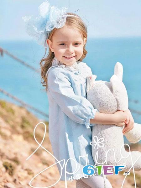 小象Q比童装品牌2018秋冬花边连衣裙