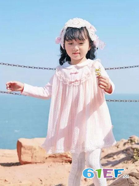 小象Q比童装品牌2018秋冬粉色宽松连衣裙