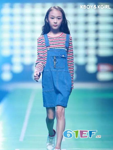 今童王童装品牌2019春夏儿童牛仔背带裙短袖条纹T恤套装
