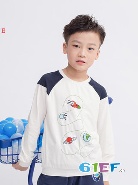 尼克nickie童装品牌2018秋冬t恤圆领棉质