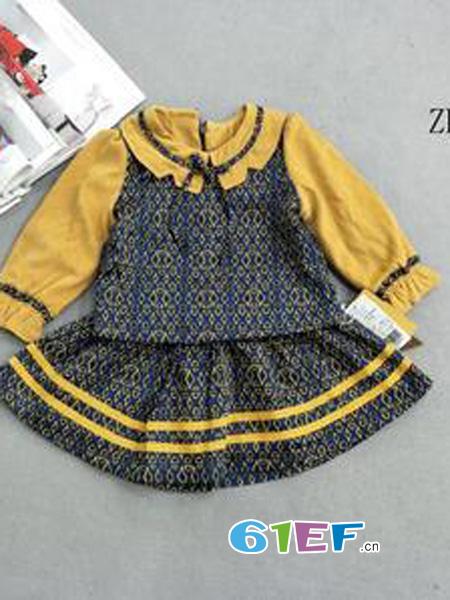 出脚小鱼龙8国际娱乐官网品牌拼色套装裙
