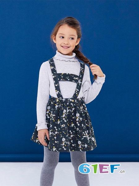 PETIT BATEAU童装品牌2018秋冬新款女小童长袖T+背带裙两件套套装