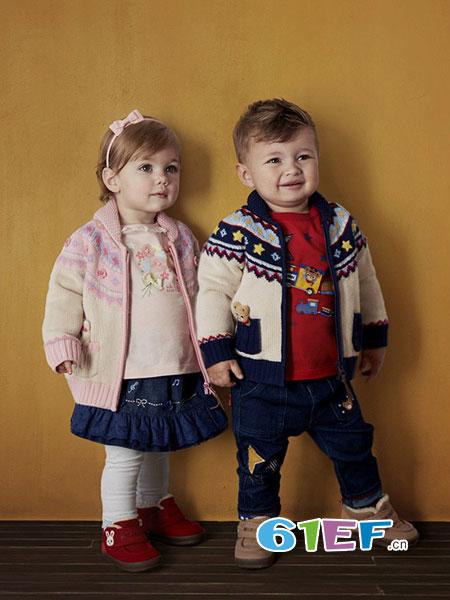 MIKI HOUSE童装品牌2018秋冬彩色立体小熊星星波浪口袋羊毛衣外套