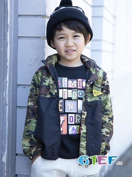 SLAP SLIP童装品牌2018秋冬拼接迷彩外套