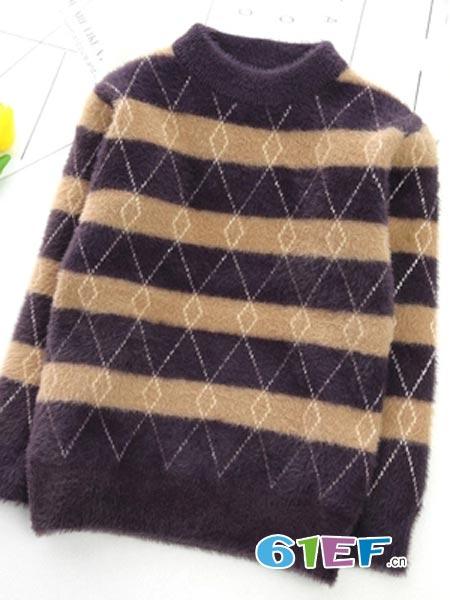 童心园童装品牌几何半高领毛衣