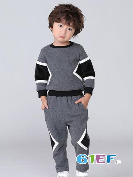 皇室baby童装品牌2018秋冬新品男童针织休闲套装