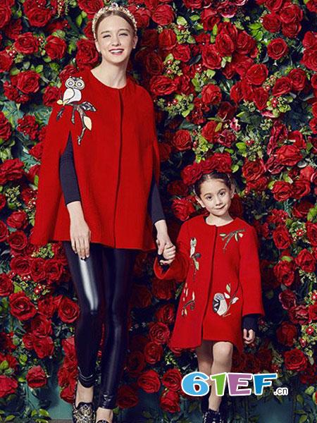 爱法贝龙8国际娱乐官网品牌2018秋冬图案圆领羊毛大衣 毛呢外套