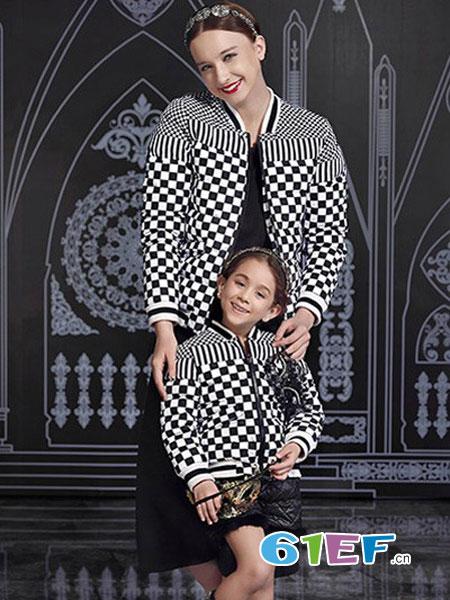 爱法贝童装品牌2018秋冬高端经典黑白棋盘格两件套裙