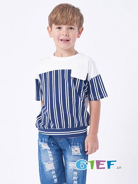 伊佳林IKALI龙8国际娱乐官网品牌2018春夏新品男童休闲时尚短袖T恤