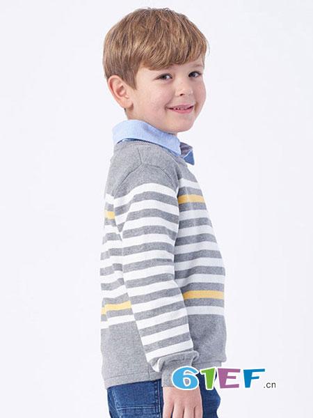伊佳林IKALI童装品牌2018春夏新品男童简约舒适条纹针织衫
