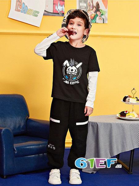 minichoc童装品牌2018秋冬新款男童假两件纯棉时尚长袖t恤