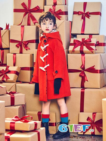 小资范龙8国际娱乐官网品牌2018秋冬红色拼格子宽松连帽呢大衣