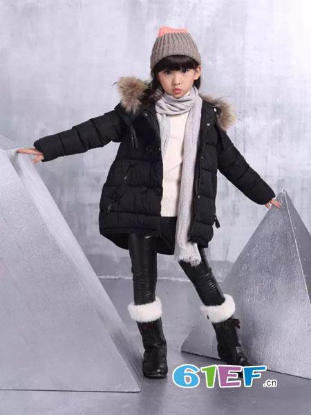可人公主童装品牌2018秋冬中长款棉服儿童羽绒棉外套