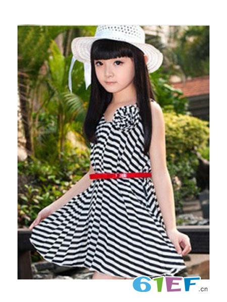 咔唻咪品牌童装童装品牌条纹连衣裙