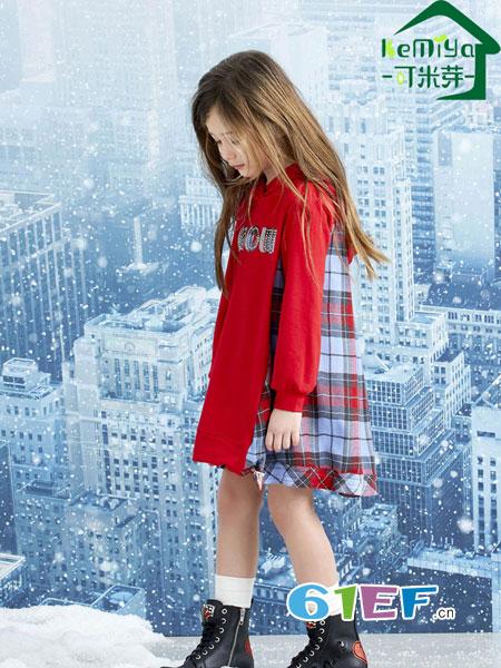 可米芽童装品牌2018秋冬新款长袖连帽字母欧范时尚百搭中长款金丝绒卫衣