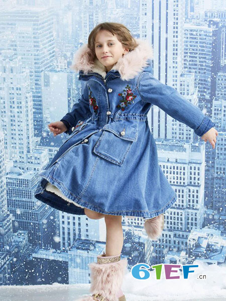 可米芽龙8国际娱乐官网品牌2018秋冬中大童儿童牛仔连衣裙