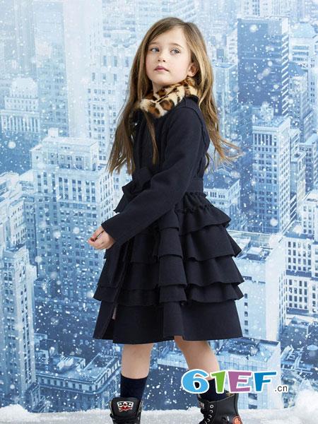 可米芽龙8国际娱乐官网品牌2018秋冬长袖儿童公主裙小女孩网纱裙