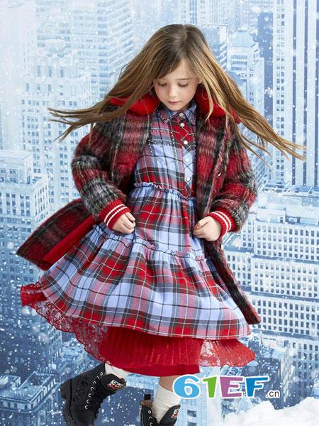 可米芽龙8国际娱乐官网品牌2018秋冬新款长袖裙英伦风格子羊毛裙子毛呢连衣裙