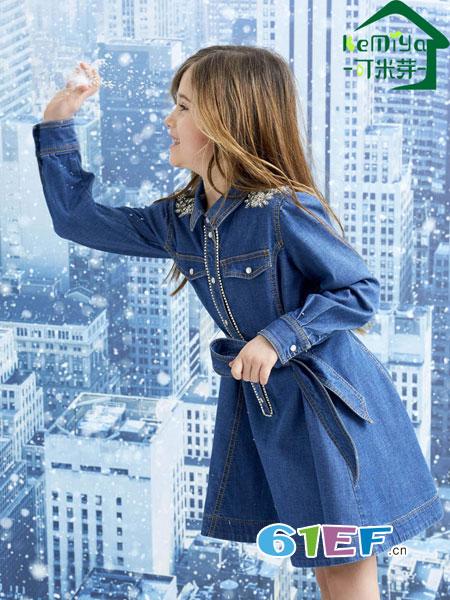 可米芽龙8国际娱乐官网品牌2018秋冬中大童长袖牛仔连衣裙