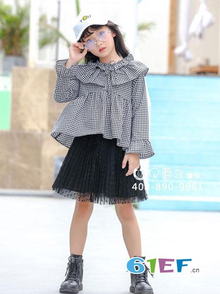 贝蕾尔童装品牌2018秋冬新款韩版中大童长袖格子荷叶边儿童衬衣公主裙潮