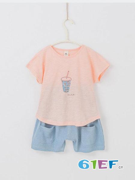 童美衣龙8国际娱乐官网品牌图案短袖+口袋短裤