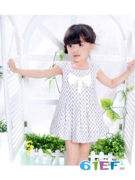 衣百分童装品牌无袖蝴蝶结连衣裙