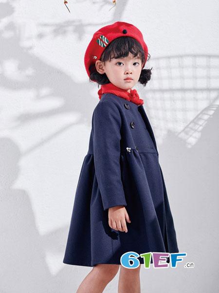DIZAI童装品牌2018秋冬双排扣连帽大衣 中大童风衣外套