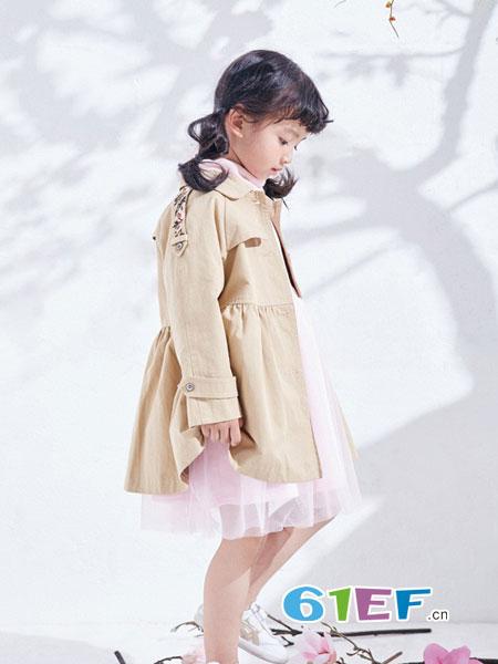 DIZAI童装品牌2018秋冬女童纯棉双排扣风衣中长款纯色大衣潮