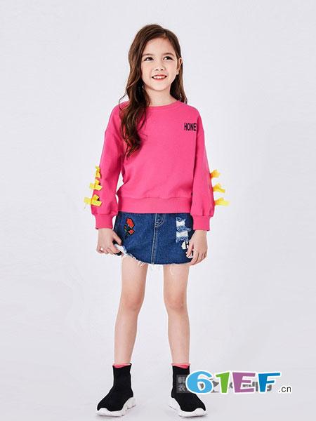 HoneyPig蜜糖猪童装品牌2018秋冬女童童装套头纯棉上衣中大童绒衫加厚