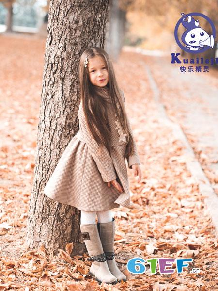 快乐精灵童装品牌2018秋冬公主裙纯棉连衣裙过膝长裙