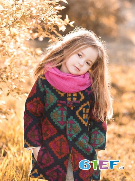 快乐精灵童装品牌2018秋冬女童外套中小童毛呢夹棉大衣宝宝加厚彩色格子开衫