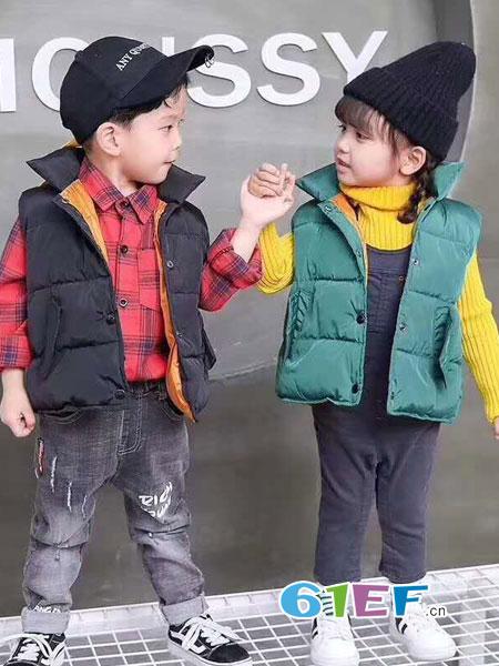 快乐精灵童装品牌2018秋冬儿童外穿加厚棉背心中大童外套坎肩潮