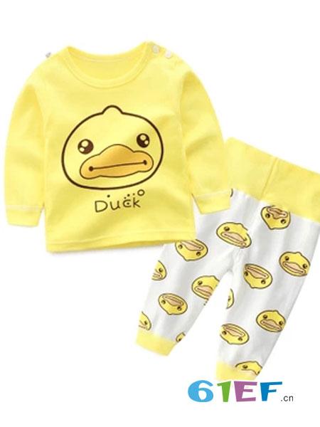 爱轩童装品牌2018秋冬鸭子图案黄色薄款套装