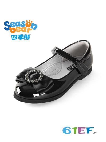四季熊童装品牌2018秋冬公主鞋真皮软底单鞋大童平底鞋