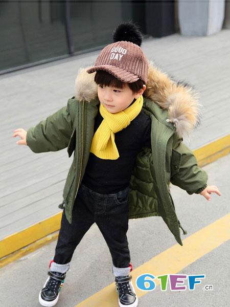 dishion的纯童装品牌2018秋冬加厚小孩中长款宝宝棉袄外套潮